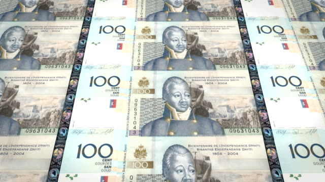 Banknotes of one hundred Haitian gourdes of Haiti, cash money, loop video