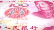 Banknotes of one hundred renminbi chinese rolling on screen, cash money, loop video