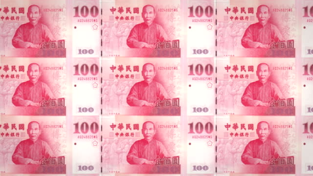 Banknotes of one hundred taiwanese dollars of Taiwan rolling, cash money, loop video
