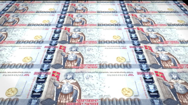 Banknotes of one hundred thousand armenian drams of Armenia rolling, cash money video