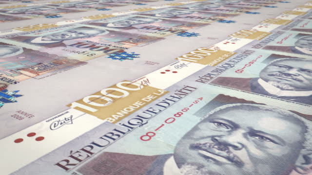 Banknotes of one thousand Haitian gourdes of Haiti, cash money, loop video