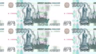 Banknotes of one thousand rubles russians of russian bank rolling on screen, coins of the world, cash money, loop video