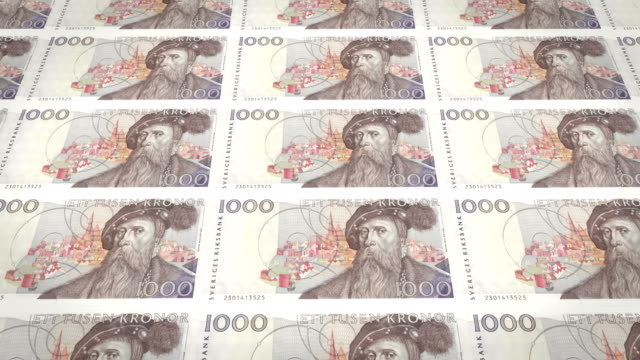 Banknotes of one thousand Swedish kronor or Swedish crown of Sweden, loop video