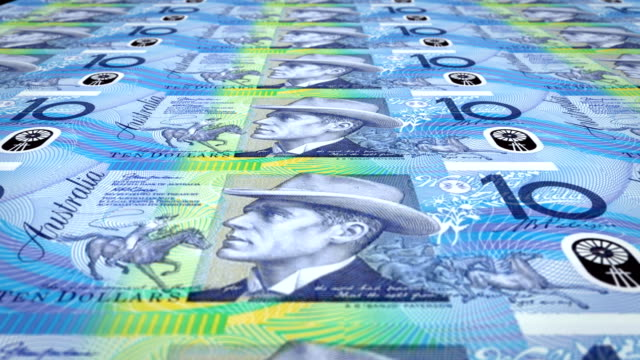 Banknotes of ten australian dollars rolling on screen, cash money, loop video