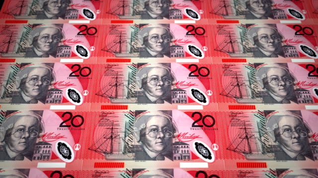 Banknotes of twenty australian dollars rolling on screen, cash money, loop video