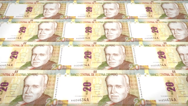 Banknotes of twenty peruvian soles of Peru, cash money, loop video