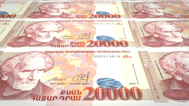 Banknotes of twenty thousand armenian drams of Armenia rolling, cash money video