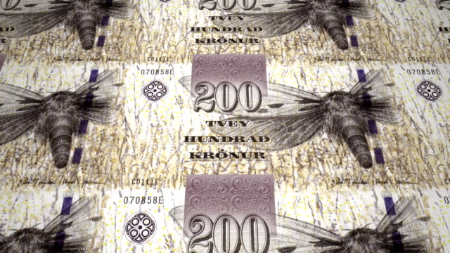 Banknotes of two hundred faroese kronur of the Faroe Islands, cash money, loop video