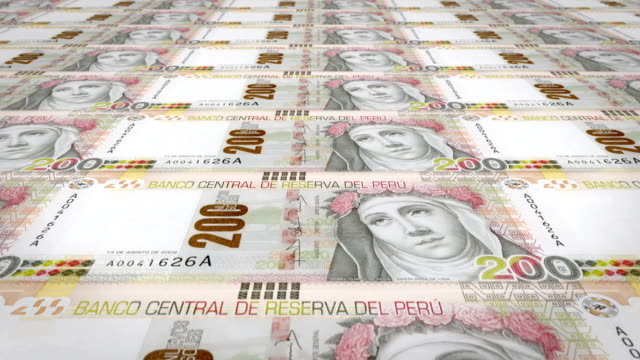 Banknotes of two hundred peruvian soles of Peru, cash money, loop video