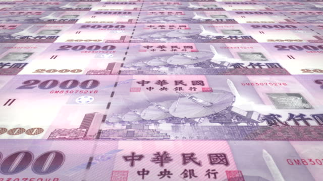 Banknotes of two thousand taiwanese dollars of Taiwan rolling, cash money, loop video
