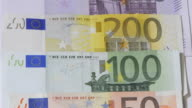 EU banknotes, several different Euro bills, panning down (HD720p) video