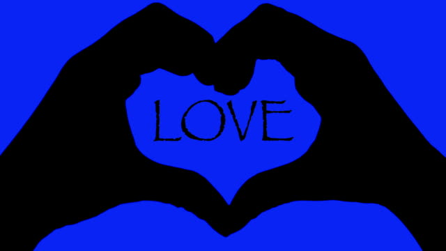 Banner hands heart over LOVE text blue background video