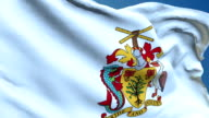 Barbados Coat of Arms Flag Waving. 3d render seamless loop video