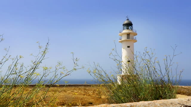 Barbaria cape lighthouse in mediterranean balearic isalnd of formentera video