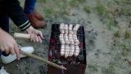 Barbecue browned sausages on the hot grill, a person turn and put upon brazier closeup video
