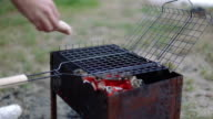 Barbecue browned sausages on the hot grill, closeup video