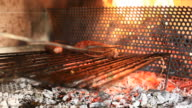 Barbecue Grill, Cooking Sausages, HD Video video