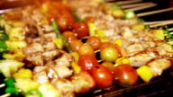 Barbecue Grill of Chicken Skewer with Tomato, Bell Pepper and Pineapple video