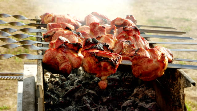 Barbecue meat cooking on the grill timelapse video