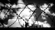 Barbed wire at the top of fence against the gloomy, dark evening sky with clouds.Black and white color correction. Shot in motion video