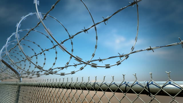 Barbed wire fence loopable animation.HD video