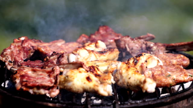 Barbeque close-up video