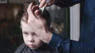 Barber Brushing Hair of Little Boy video