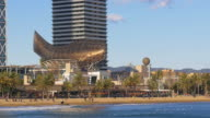 barcelona city beach fish monument mediterranean sea view 4k spain video