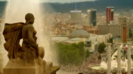 Barcelona cityscape Plaza Espana video