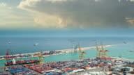 Barcelona commercial port time lapse cumulus 4K UHD video