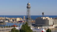 barcelona day light montjuic view on funicular beach tower 4k spain video