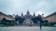 barcelona day light national palace panorama 4k time lapse spain video