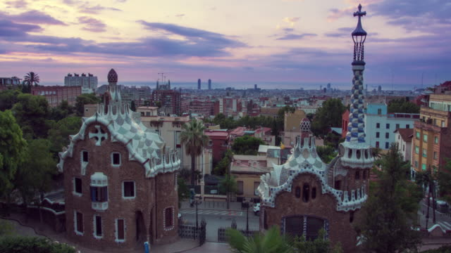 Barcelona landmarks. Morning in Park Guell designed by Antoni Gaudi in Spain video