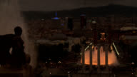 Barcelona night cityscape Plaza Espana video