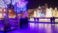 barcelona placa catalunya bright night light fountain 4k time lapse video