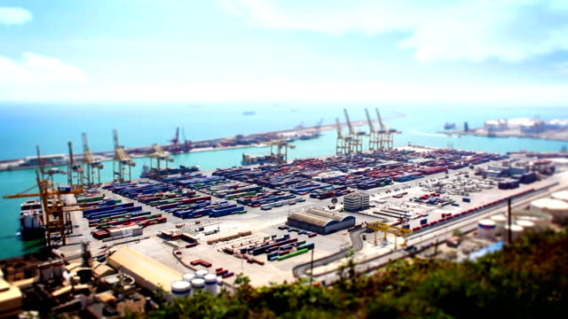 Barcelona Port Panorama, Tile Shift, Time Lapse, Spain video