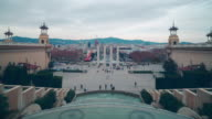barcelona royal national palace view on plaza de espana 4k time lapse video
