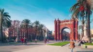barcelona sun light arc de triomf panorama 4k time lapse spain video