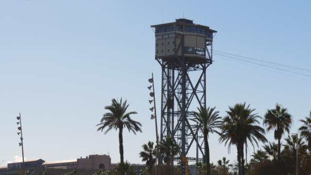 barcelona sun light beach funicular tower 4k spain video