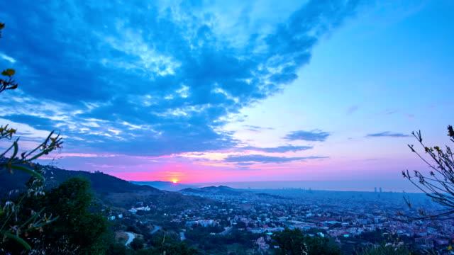 Barcelona sunrise from Collserola mountains video