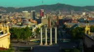 Barcelona sunrise. Timelapse of square in center of Barcelona. Travel landmarks video