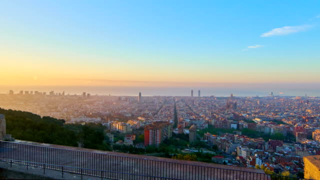 Barcelona sunrise with amazing color in the sky video
