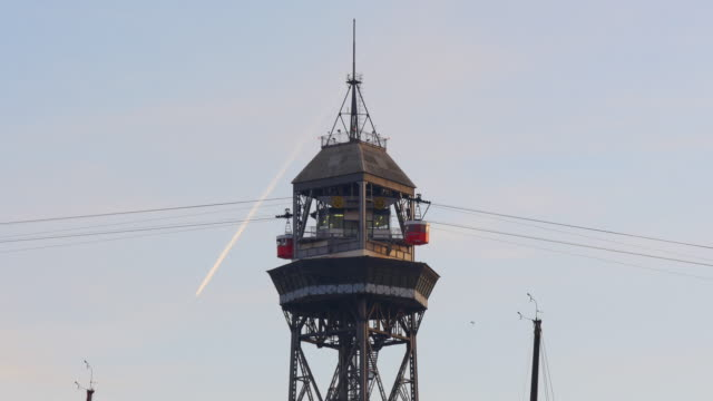 barcelona sunset funicular riding 4k spain barcelona video
