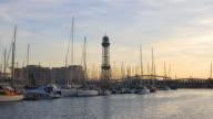 barcelona sunset yacht port panorama 4k spain video
