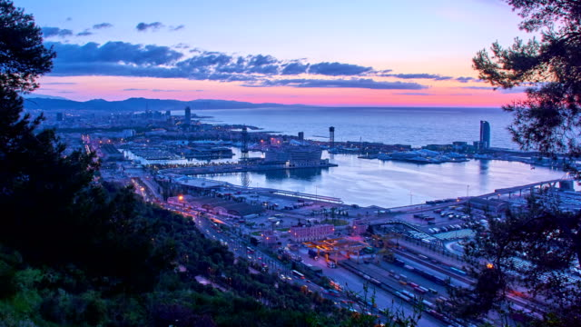 Barcelona's port view from the mountain video