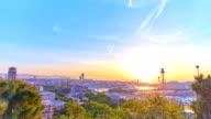 Barcelona's sunrise a clear day video