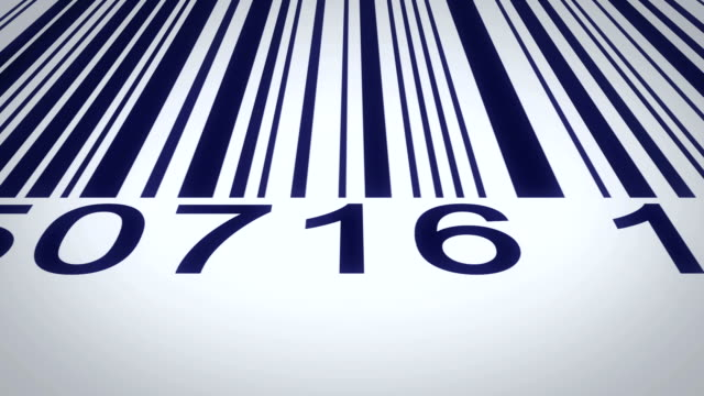 barcode over a white background, scanning by red barcode reader. video