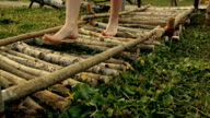 Barefoot person walking along wooden decorative path at the lawn video