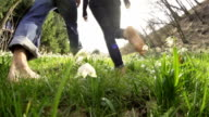 HD SUPER SLOW-MO: Barefoot Walk Through The Grass video