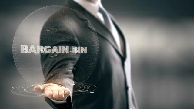 Bargain Bin with hologram businessman concept video